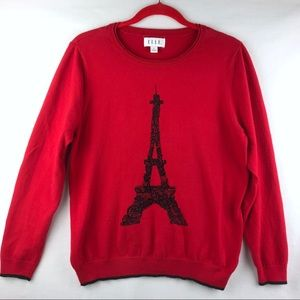 Elle | Women's Red and Black Eiffel Tower Sweater